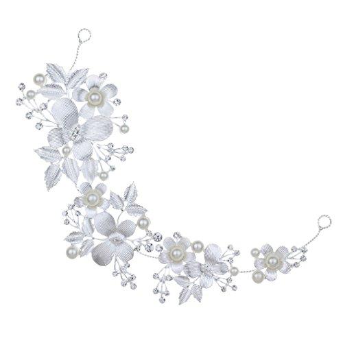 YAZILIND Elegantes Bandas de Perlas delicadas Perla de la Boda de Pelo Nupcial Accesorios de Pelo Banda para Las Mujeres