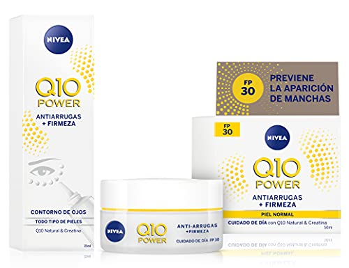 NIVEA Q10 Power Antiarrugas Cuidado de Día Triple Defensa FP30 + Crema Contorno de Ojos - 15 ml
