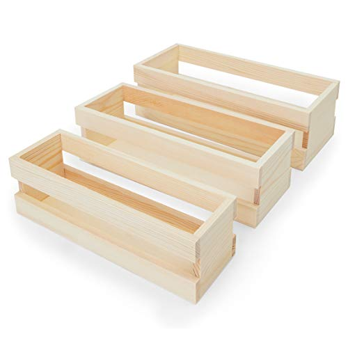 Bright Creations Wooden Trays Set with Handle, Crates for Storage (Natural Color, 3 Pieces)
