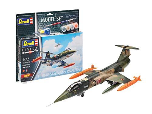 Revell Set Lockheed F-104 G Starfighter RN Kit Modelo con Colores básicos, Pegamento y Pincel, Plateado (63879)
