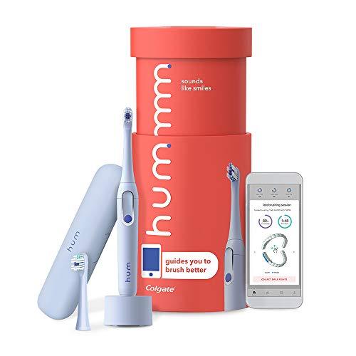 Kit de escova de dentes elétrica inteligente da Colgate, escova de dentes sônica recarregável com estojo de viagem e cabeça de substituição, azul