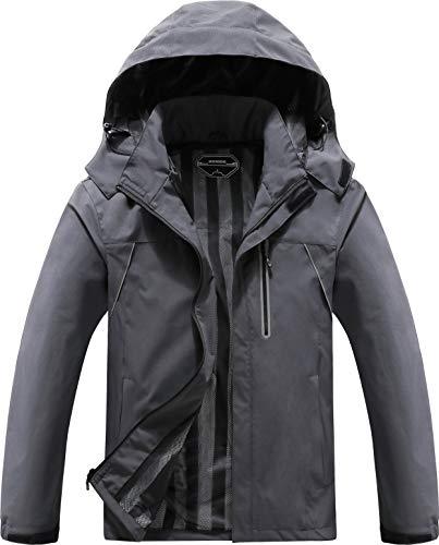 MOERDENG Men's Lightweight Windbreaker Winter Rain Jacket Waterproof Breathable Coat Dark Grey