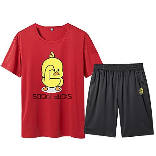 Yowablo T-Shirt à Manches Courtes Homme Loisirs d'été Mode Impression Shorts à Manches Courtes Fitness Sports Sets (4XL,Rouge)