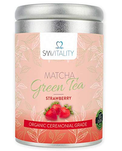 (100g) SM Vitality Organic Matcha Tea Powder | Healthy Vitamin-Rich Japanese Matcha Strawberry Flavour Green Tea Powder for Drinking | Rich in Antioxidants, Boosts Immune System, Aids Weight Loss