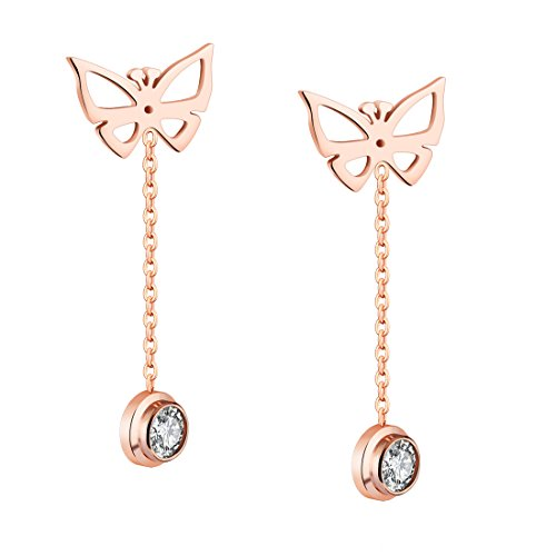 B.Z La Vie Pendientes largos para mujer de acero inoxidable, mariposa y cristal, chapado en oro rosa