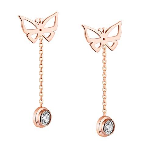 B.Z La Vie larga pendientes mujer acero inoxidable mariposa cristal Rosé vergoldung