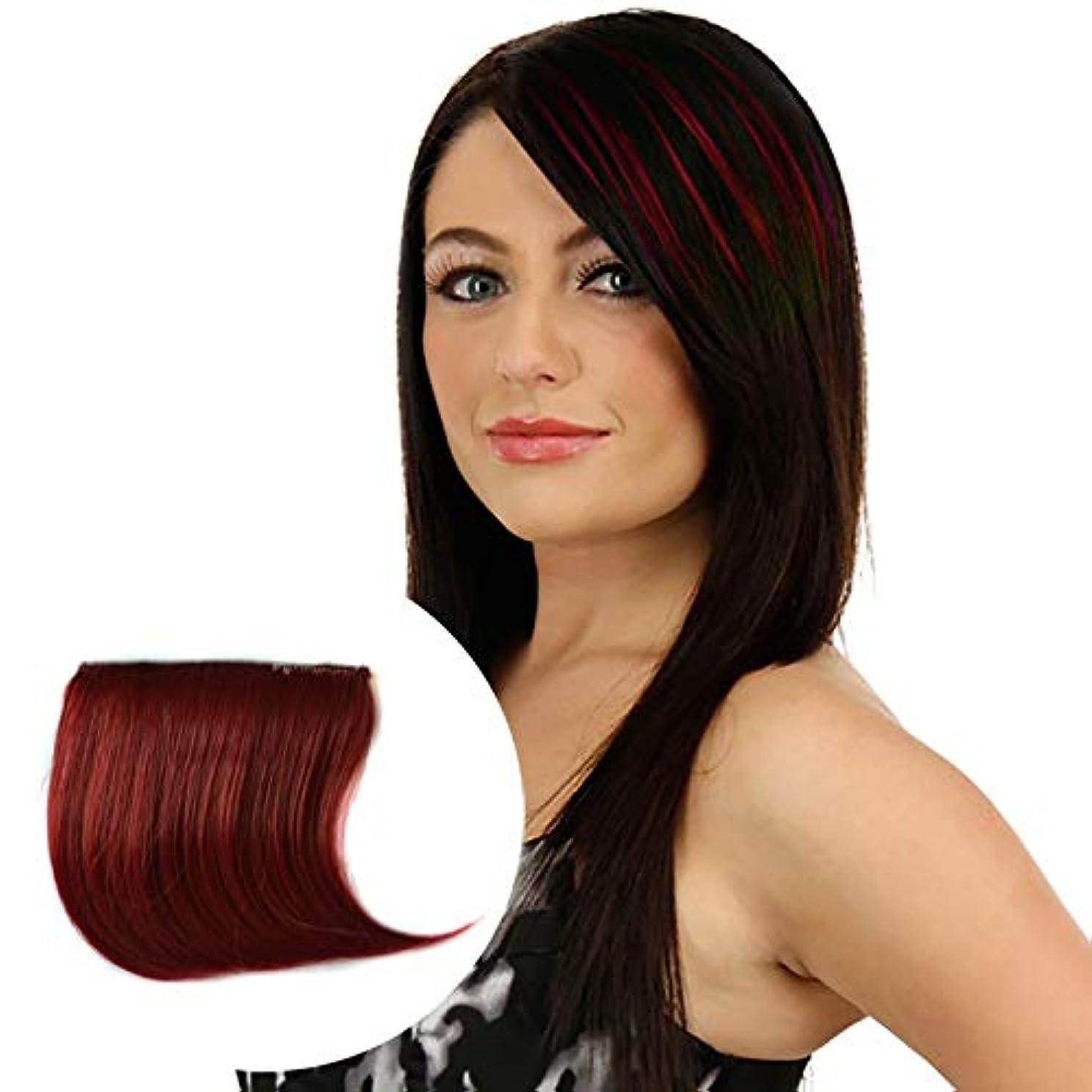 足枷アルコール従順美しさ カラーグラデーション見えないシームレスヘアエクステンションウィッグピースストレートヘアピースカラーバンズヘアピース ヘア&シェービング (色 : Wine Red)