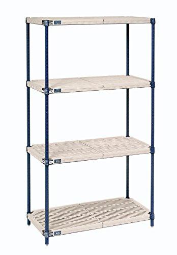 Nexel 4-Shelf Plastic Mat Shelving Unit With Blue Posts, 24″W x 72″L x 86″H