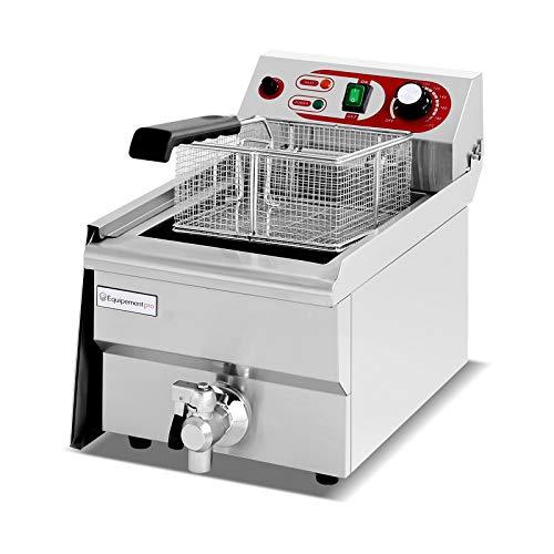 Equipementpro {EF-161V} Friteuse professionnelle 16L - 230V - friteuse à beignets en acier inoxydable avec robinet d'évacuation des graisses friteuse pour la gastronomie professionnelle