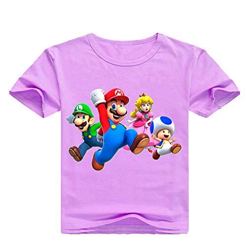Super Mario T-Shirt Kinderbekleidung Mädchen Plain Cotton Blank Basic Kurzarm T-Shirt Casual Slim Fit T-Shirt für Jungen und Mädchen (Color : A11, Size : 130)