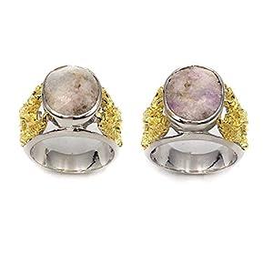 pwlgem Natural Hackmanite UV Colore Change 925 Sterling Silver Ring (Untreated) Mogok