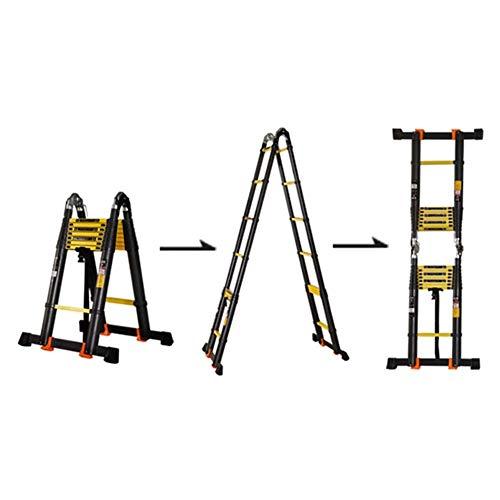 JJYGONG Escaleras Telescópicas Plagable Platable 6.9Ft Extensión de Aluminio Multiusos, Trabajo Pesado Negro, Capacidad de 330 Libras Plegable