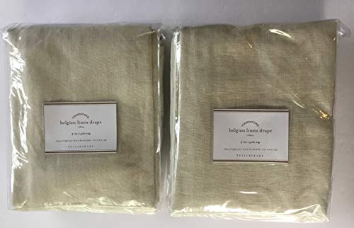 "Pottery Barn Belgian Flax Linen Drape ~3 in 1~Set of Two Panels~ 50' x 84"" ~Natural~"