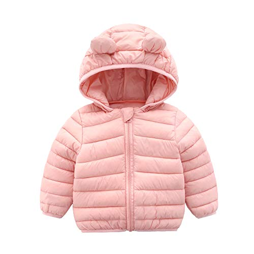CECORC Winter Coats for Kids with Hoods (Padded) Light Puffer Jacket for Outdoor Warmth, Travel, Snow Play | Girls, Boys | Baby, Infants, Toddlers, (12-18 Months, Pink)
