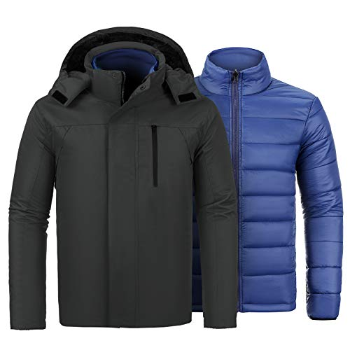 VICALLED Men's 3-in-1 Ski Jacket Winter Mountain Snow Jackets Waterproof Hooded Coat Black