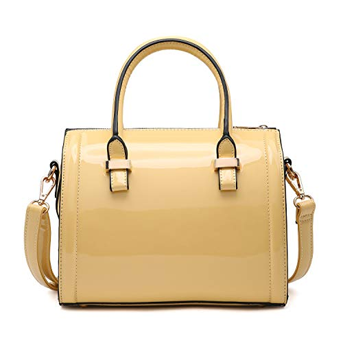 """Made of synthetic patent leather Top zipper closure, studded flat bottom, gold tone hardware Inside: 2 x interior front wall open top pouch pockets, 1 x interior back wall zipper pocket Detachable and adjustable shoulder strap 48'', handle drop 5.5"""" ..."""