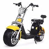 CYGGL Harley tweewielige elektrische Scooter, 1500W Motor, 60V12Ah lithiumbatterij, Elektrische Scooter met straatvergunning, actieradius 40 Kilometer, dubbel, 200KG belasting Yellow
