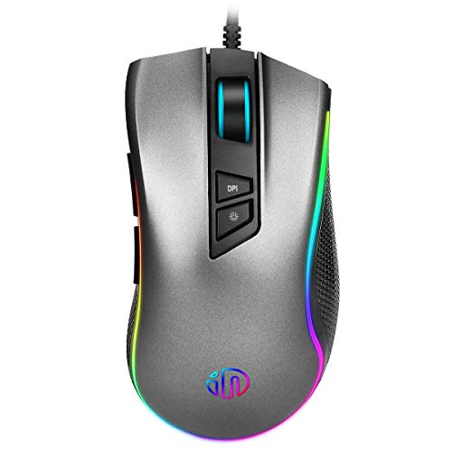 OptiCase RGB Light Ergonomic Gaming Mouse Wired for PC Mac Laptop Computer USB, Cool LED Optical Gamer Mice