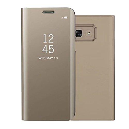 Sycode Screen Protector Gold Slim Fit Clear Standing View Mirror Spiegel Hülle Beirftasche für Samsung Galaxy A5 2017-Gold Mirror