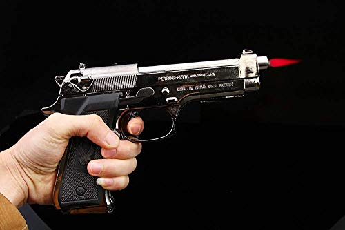 WBD Antique Red Flame Metal and Plastic Body Heavyweight Refillable Revolver Gun Shape Cigarette Gas Lighter with Stand