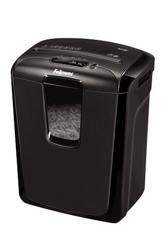 Fellowes M-8C - Destructora trituradora de papel, corte en partículas, destruye hasta 8 hojas, uso personal, tritura tarjetas de crédito, color negro