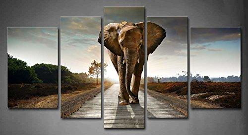 5 Stücke Elefant Gehen Im EIN Straße Mit Das Sonne Von Hinter Wandkunst Malerei Das Bild Druck Auf Leinwand Tier Kunstwerk Bilder Für Zuhause Büro Moderne Dekoration