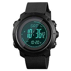 small SKMEI Men's Compass Watch, Digital Sports Watch, Pedometer, Altimeter, Barometer, Temperature, Military …