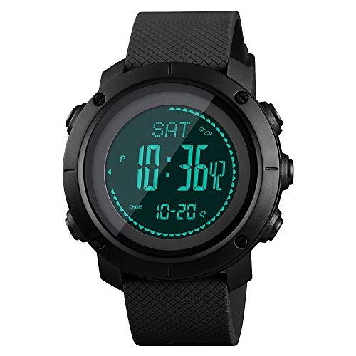 SKMEI Mens Compass Watch, Digital Sports Watch Pedometer Altimeter Barometer Temperature Military Waterproof Wristwatch for Men Women