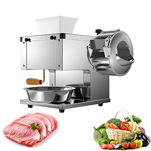 NEWTRY 2-in-1 Commercial Meat and Vegetable Cutting Machine Electric Meat Cutter Shredder Strip Cutting Machine 350lb/h Stainless Steel (with a 5mm blade)