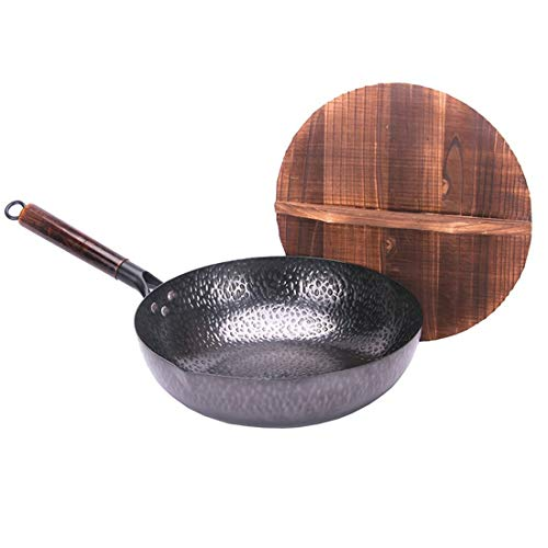 ASYGUO Classic Chinese Traditional Handmade Forging Wok Durable Iron Woks Uncoating Wrought Iron Non-stick Gas Pot Cookware
