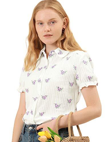 Allegra K Blusa Estampado Floral Collar De Peter Pan Camisa Manga Corta De Algodón para Mujer Blanco XL