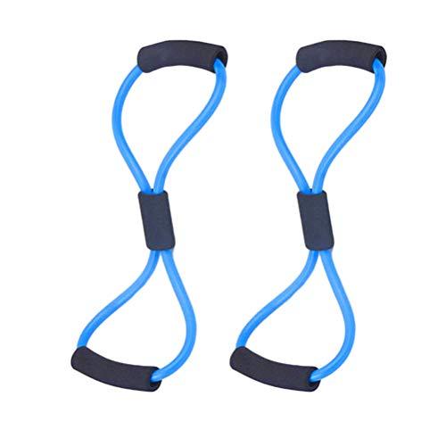 LIOOBO 2pcs Resistencia Banda 1 Forma Tubos 8 Forma Cintas de Ejercicios Bandas de Entrenamiento para Entrenamiento de Fisioterapia Fitness Pilates Ejercicios caseros de Fuerza (Azul)