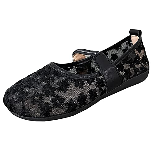Ghemdilmn Cómodas zapatillas de malla transpirables para mujer, plataforma plana, informales, para verano, al aire libre, para correr, de viaje, con cordones, color, talla 38 EU