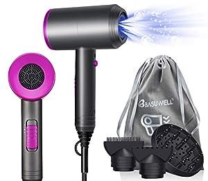 Asciugacapelli 1800W Potente Professionale Ioni, Phon Con 3 Ugelli e Diffusore, 3 Impostazioni di Temperatura, Pulsante di Raffreddamento Indipendente, Asciugatura Veloce
