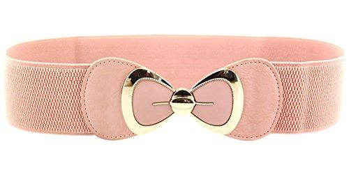 X&F Women's Elegant PU Bowknot Stretch Wide Belt Dress Decorative Waistbelts Pink