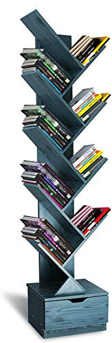 Flydem Tree Bookshelf with Drawers 10Tier Floor Standing Bookcase in Living Room/Home/Office Wood Storage Rack Shelves for Books/CDs/Movies/Files/DVDs  Navy Blue