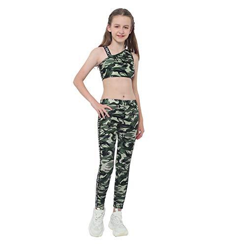 ranrann Mädchen 2 TLG. Sportwear Set Trainingsanzug Kinder Teenager Sportanzug Camouflage Sportbekleidung Bustier Crop Top Leggings Tights für Workout Fitness Jogging Grün 134-140/9-10 Jahre