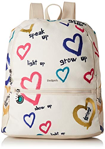 Desigual Bag Natural Message Novara Women - Borse a zainetto Donna, Bianco (Crudo), 12x35.3x28.7 cm (B x H T)