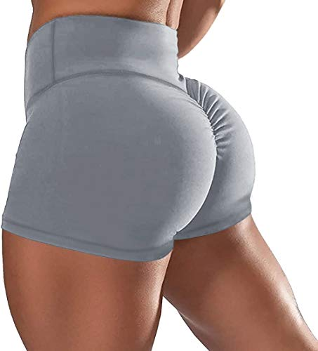 AIMILIA Women Gym Shorts Butt Lifting Ruched Yoga Booty Running Short Tummy Control Leggings High Waisted Pants