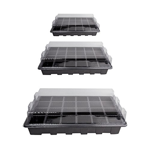 10 Pack -240 Cells -24 Grow Trays with Humidity Dome and Cell Insert – Mini Propagator for Seed Starting and Growing Healthy Plants Durable Reusable and Recyclable