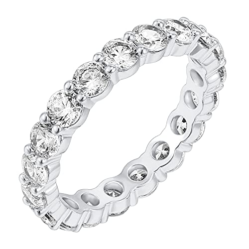 PAVOI 14K White Gold Plated Cubic Zirconia Rings | 3.0mm Eternity Bands | White Gold Rings for Women Size 9