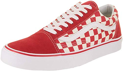 Vans Mens Old Skool (6 Women / 4.5 Men M US, Primary Check Racing RED White)
