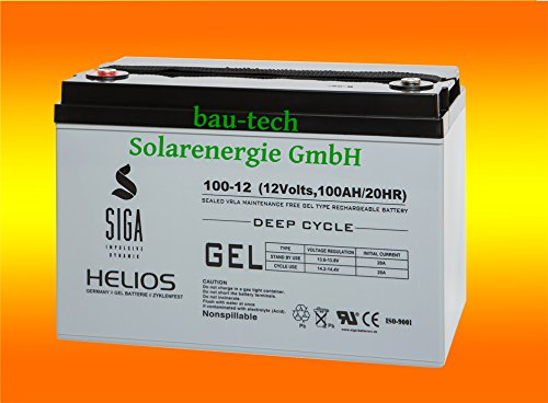Solarbattererie 100Ah 12V Helios Blei GEL -Deep Cycle- Akku von bau-tech Solarenergie GmbH