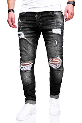 behype. Herren Destroyed Stretch Jeans-Hose Used Slim-Fit 80-2369 Schwarz W29/L32