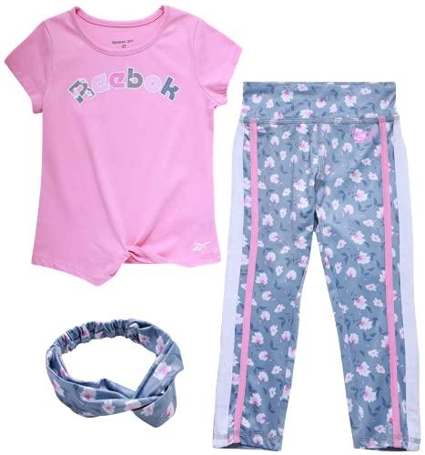 Reebok Baby Girls' Playwear Set ? 3 Piece Short Sleeve T-Shirt, Leggings, and Headband Set (Infant/Toddler), Size 18 Months, Begonia/Blue/Floral