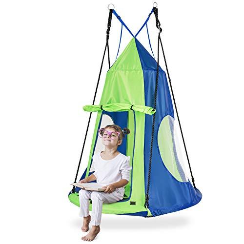 GOPLUS 100 cm Nestschaukel mit Zelt, Rundes Hängezelt, Gartenschaukel mit bis zu 100 kg Belastbar, 100–160 cm Verstellbar, mit Stahl-Rahmen, mit Tür, für Kinder & Erwachsene, Outdoor & Indoor (Grün)