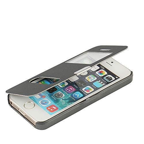 MTRONX Cover iPhone SE, Cover iPhone 5s, Cover iPhone 5, Custodia Case Doppio Finestra Vista Ultra Foglio Flip Twill PU Pelle Chiusura Magnetica Paraurti per Apple iPhone SE / 5s / 5 - Grigio(MG2-GY)