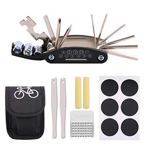 PUMYPOREITY Kit riparazione per Bici, 16 in 1 Atrezzo Multifunzione da Bici, Leve del Pneumantico, Borsa Portatile, Toppe per Bici, Raspa in Metallo, Kit Foratura Bici