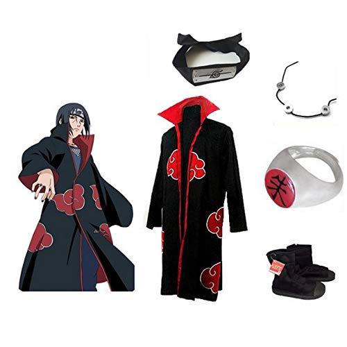 SUNKEE Japanische Anime Naruto Cosplay Uchiha Itachi Set -- Akatsuki Mantel Umhang Größe M + Itachi Halskette + Itachi Ringe + Itachi Stirnband + Ninja-Schuhe