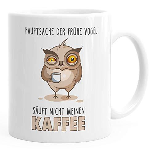 MoonWorks® Hauptsache der frühe Vogel säuft nicht meinen Kaffee Bürotasse Motiv Vogel Eule weiß unisize